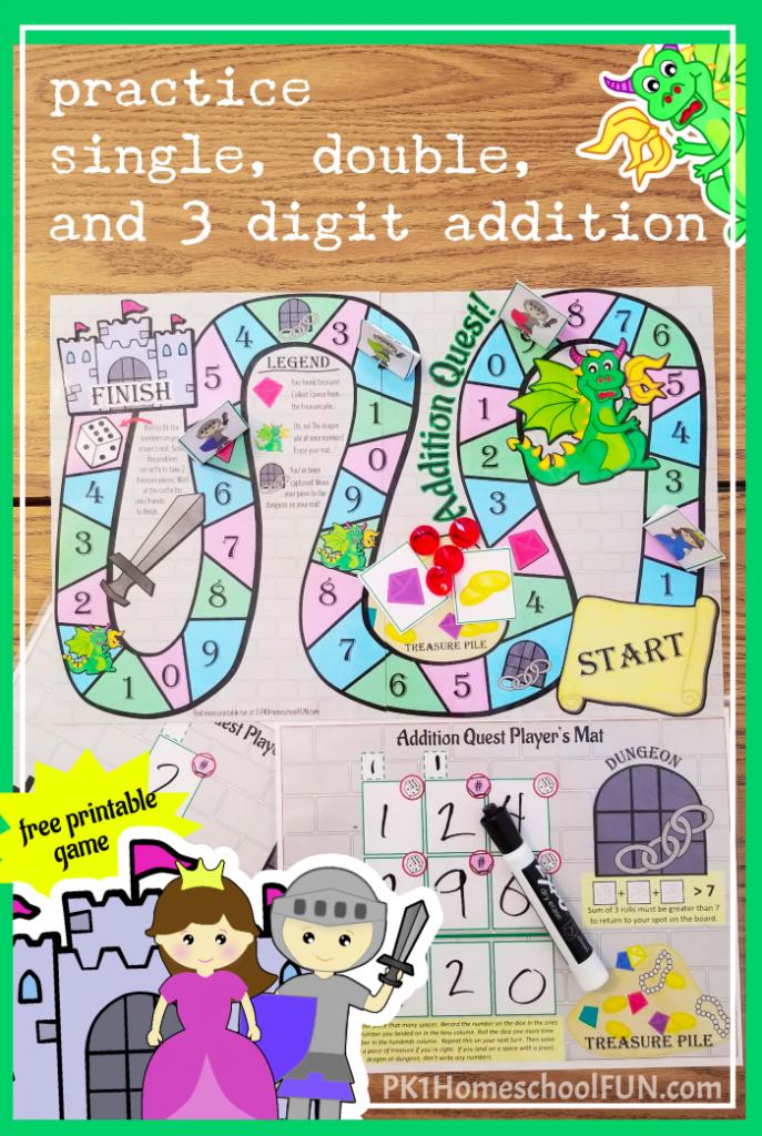 Free Printable Digit Addition Game
