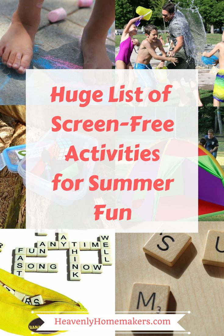 Huge List of Screen Free Activities For Summer Fun!