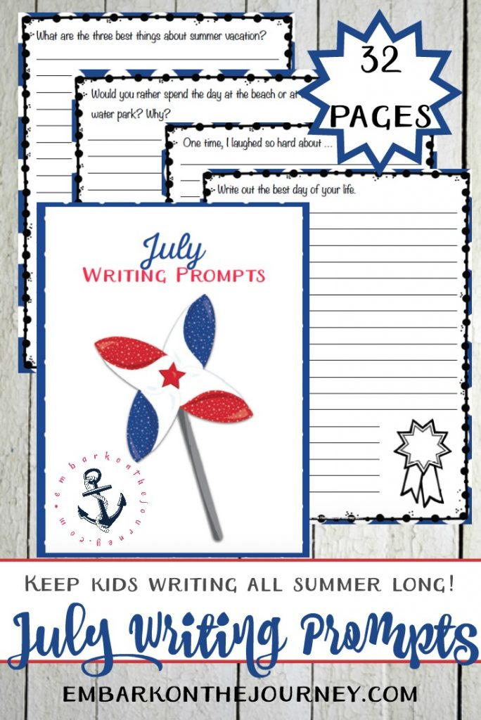 Free Printable Writing Prompts for July
