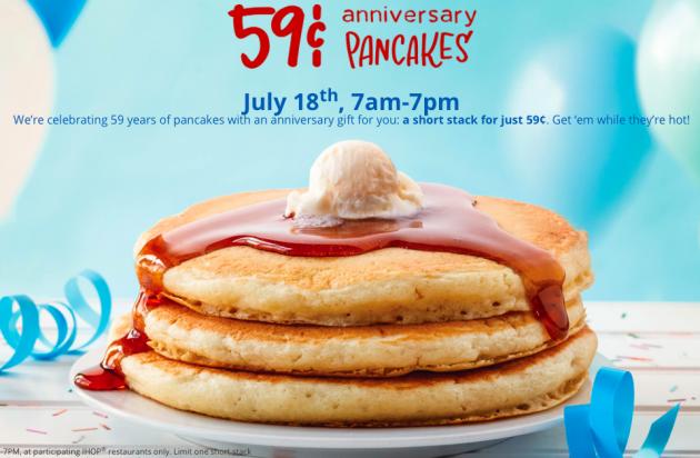 IHOP: $0.59 Original Buttermilk Pancake Short Stacks on July 18, 2017!