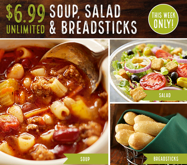 Olive Garden: Unlimited Soup, Salad, and Breadsticks for just $6.99!