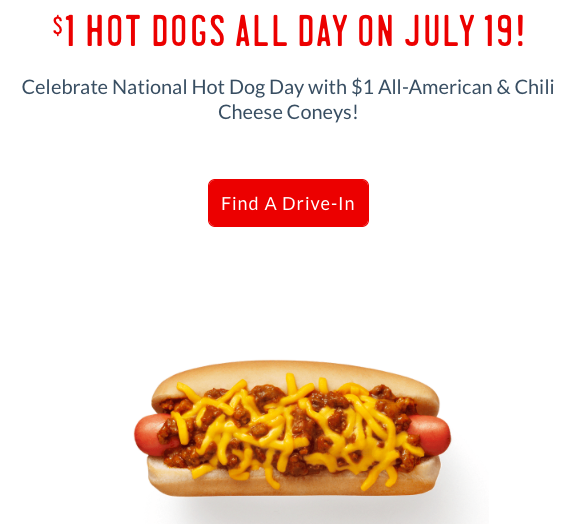 Sonic: $1 Hot Dogs on July 19, 2017