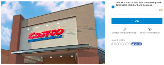 LivingSocial.com: Get a One-Year Costco Gold Star Membership + $20 Costco Cash Card + over $35 in free food for just $60!