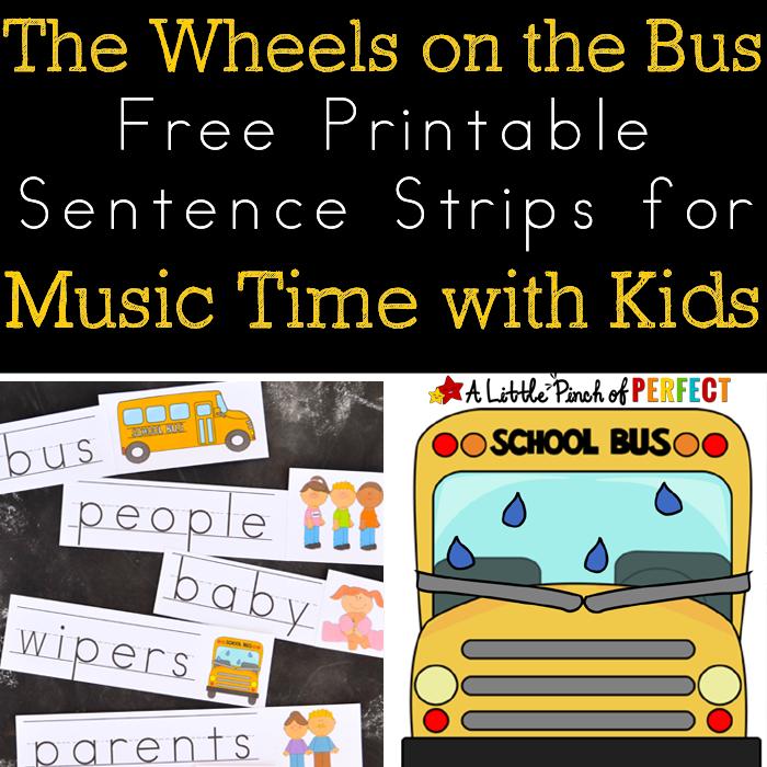 Free Printable Wheels on the Bus Sentence Strips
