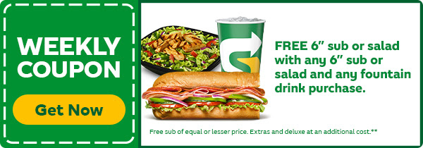 Subway: Free Sub or Salad with any Sub or Salad and Fountain Drink Purchase