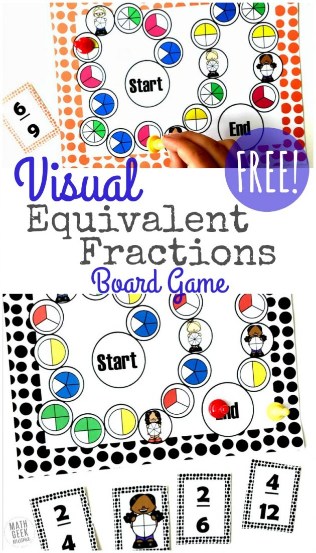 Free Printable Equivalent Fractions Board Game
