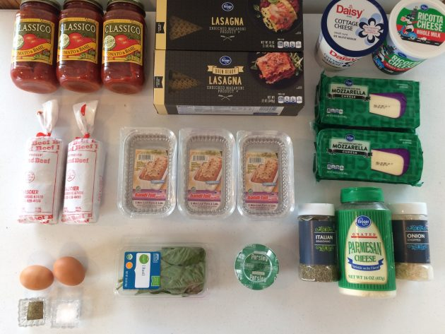 ingredients for mini freezer-friendly lasagnas