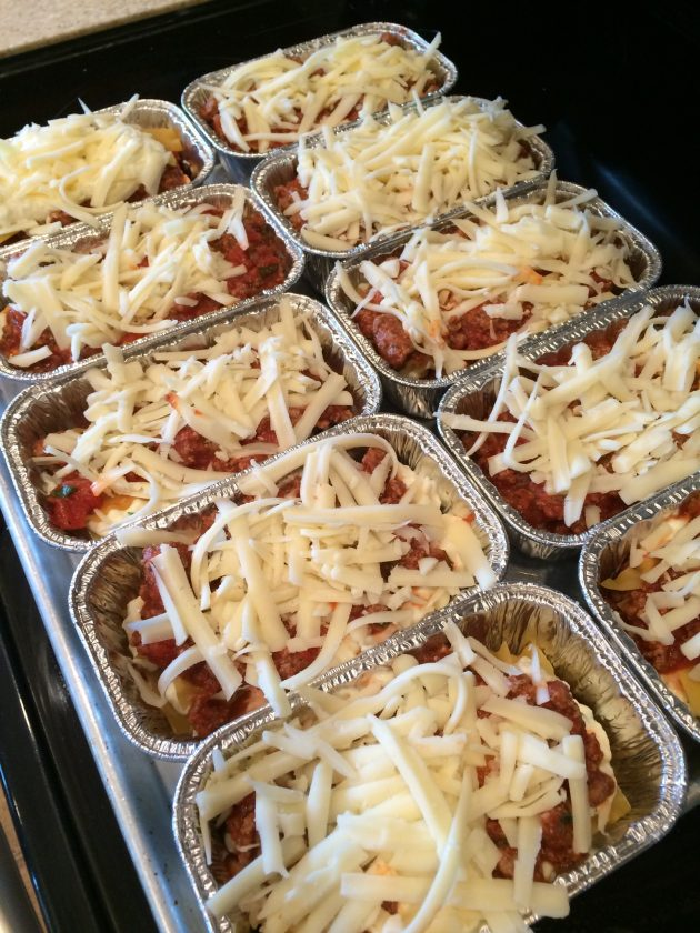 mini lasagnas ready to be cooked