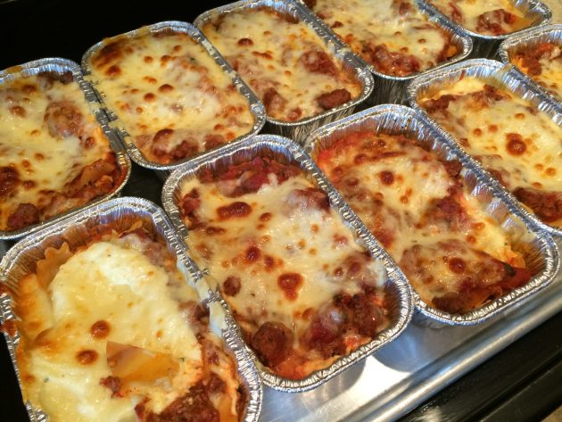 cooked mini lasagnas fresh out of the oven