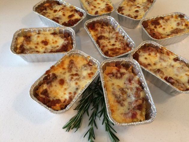 mini lasagnas cooked and ready to be frozen