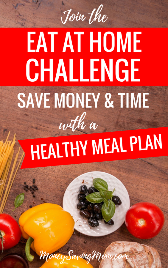 Want to make menu planning easier,  save money and time? Join the Eat at Home Challenge to get pre-made healthy meal plans and grocery shopping lists! It's SO easy!!