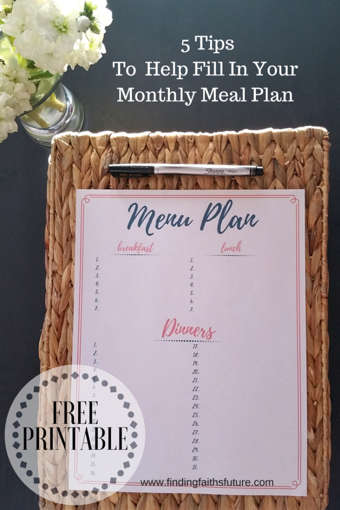 Free Monthly Meal Planning Printable