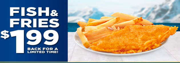 Long John Silver's: Fish & Fries just $1.99 + Free Large Drink!