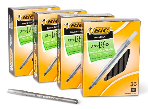 Get BIC Round Stic Xtra Life 144-Count Ball Point Stick Pens for just $9.60!
