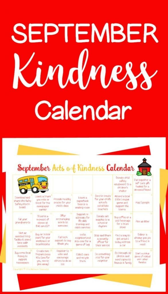 Free Printable September Acts of Kindness Calendar