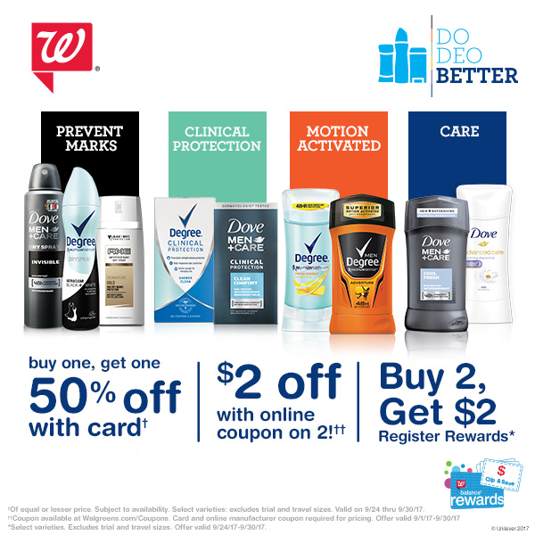Walgreens: Save big on Dove, Degree, or Axe Deodorants this