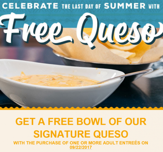 On The Border: Free Bowl of Queso with Purchase on September 22, 2017