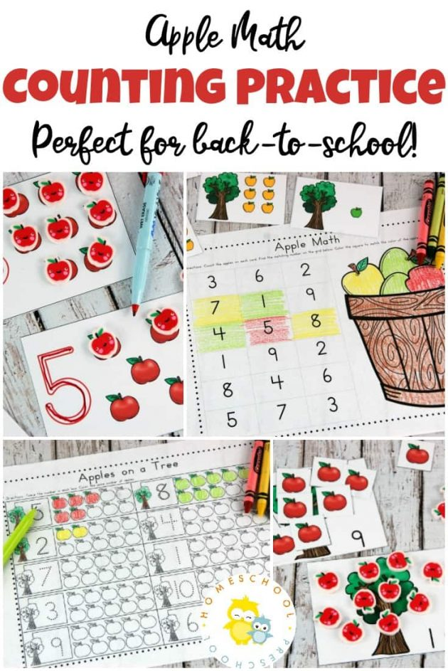 Free Apple Math Counting Printable Pack