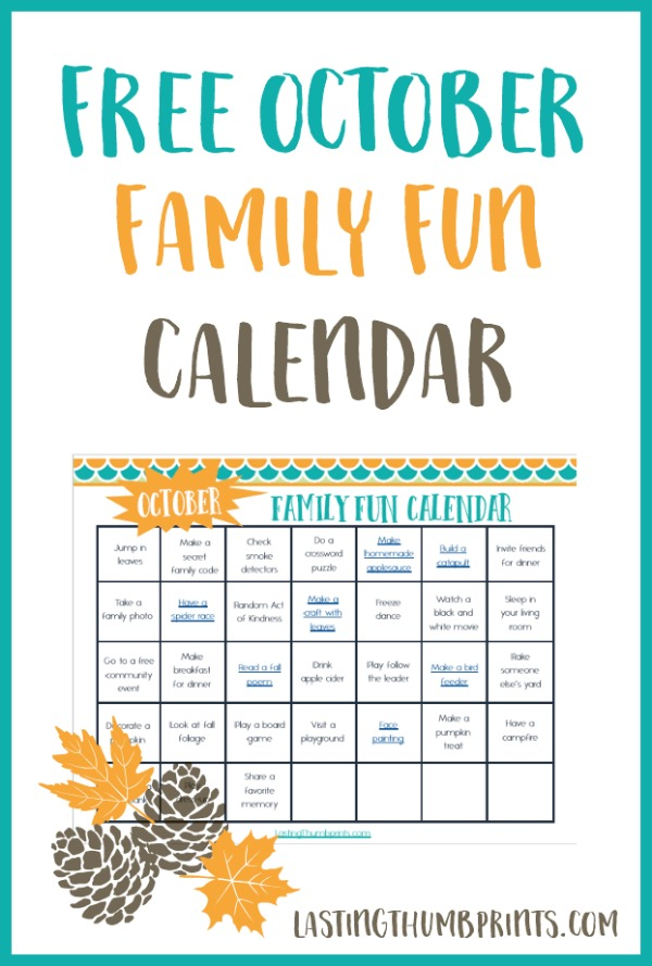 Free Printable October Family Fun Calendar