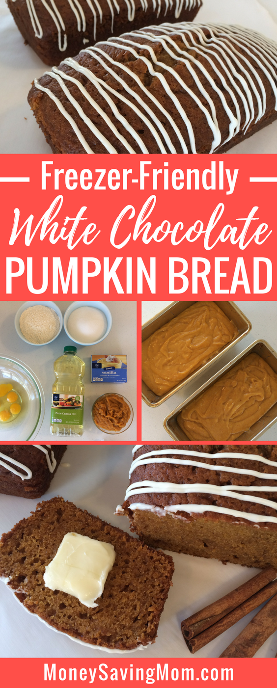This White Chocolate Pumpkin Bread is a twist on a yummy traditional fall recipe! It's SO delicious and it freezes wonderfully!
