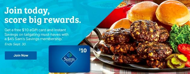 Sam's Club: Pay $45 for membership, $10 e-gift card, and a tailgate package!