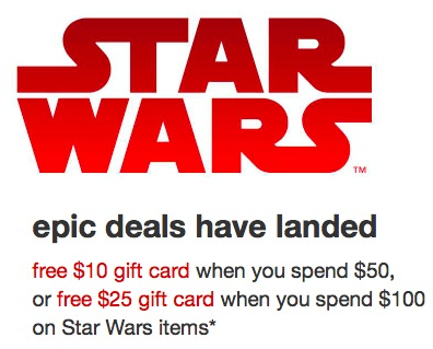 Target.com: Get a $10 gift card when you spend $50 on Star Wars items