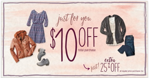 Maurices: $10 off any $10 purchase coupon!