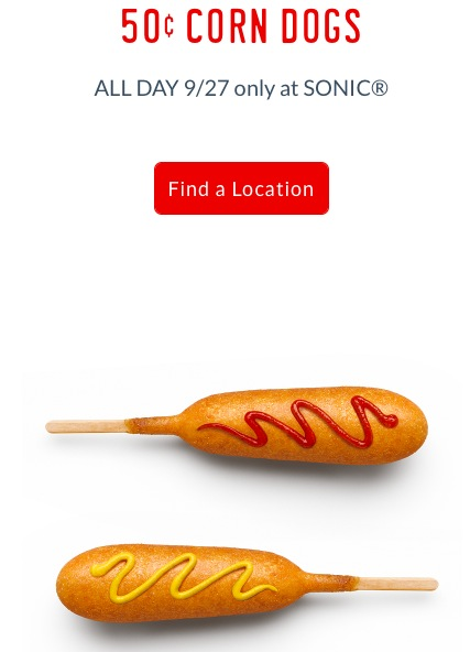 Sonic: $0.50 Corn Dogs on September 27, 2017