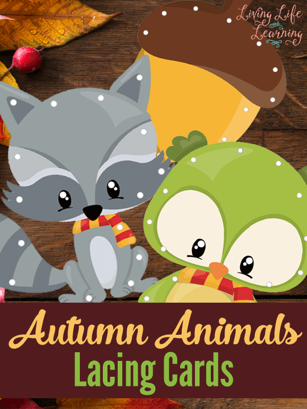 Free Printable Autumn Animals Lacing Cards and Tracing Worksheets