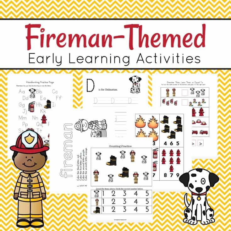 Free Printable Fireman Themed Preschool Pack Money