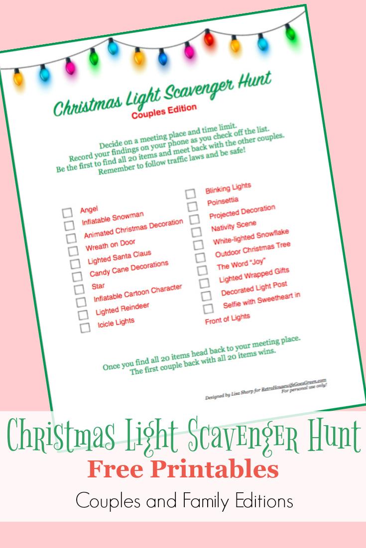 Free Printable Christmas Light Scavenger Hunt for Couples - Money ...