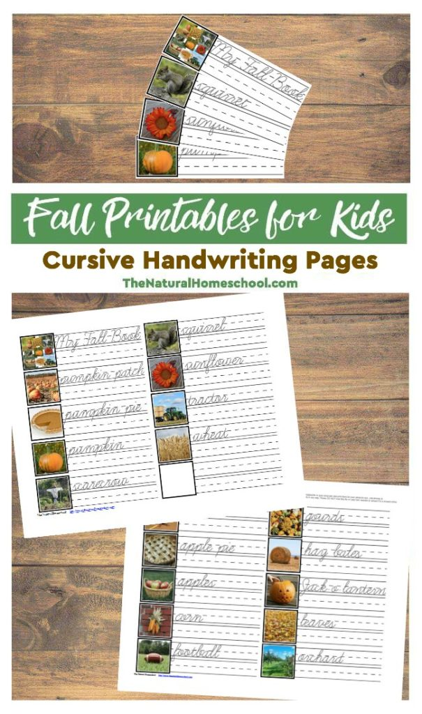 Free Printable Fall Cursive Handwriting Pages for Kids
