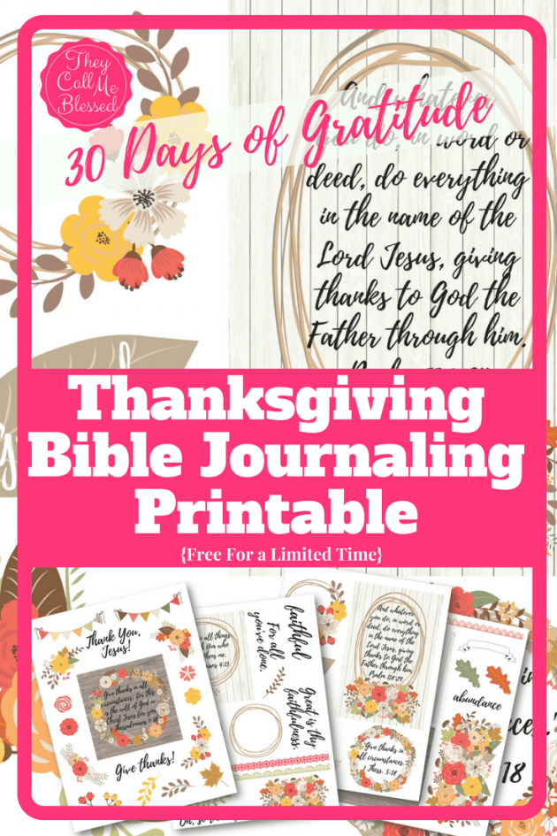 image relating to Bible Study Journal Printable identified as Absolutely free Thanksgiving Bible Journaling Printable Pack Cash
