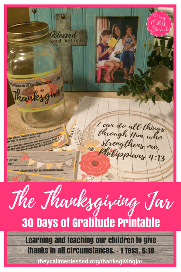 Free Thanksgiving Jar 30 Days of Gratitude Printable