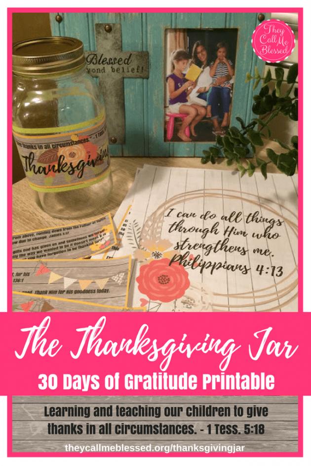 Free Thanksgiving Jar 30 Days of Gratitude Printable