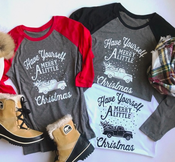 Get a Christmas Raglan Tee for just $15.99!
