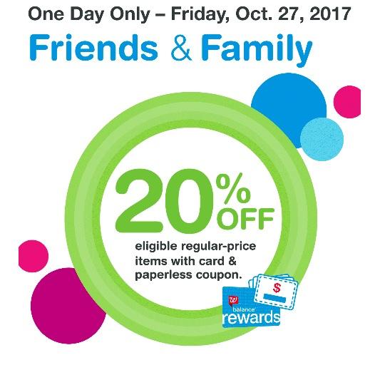 Walgreens: 20% off regular priced items on October 27, 2017