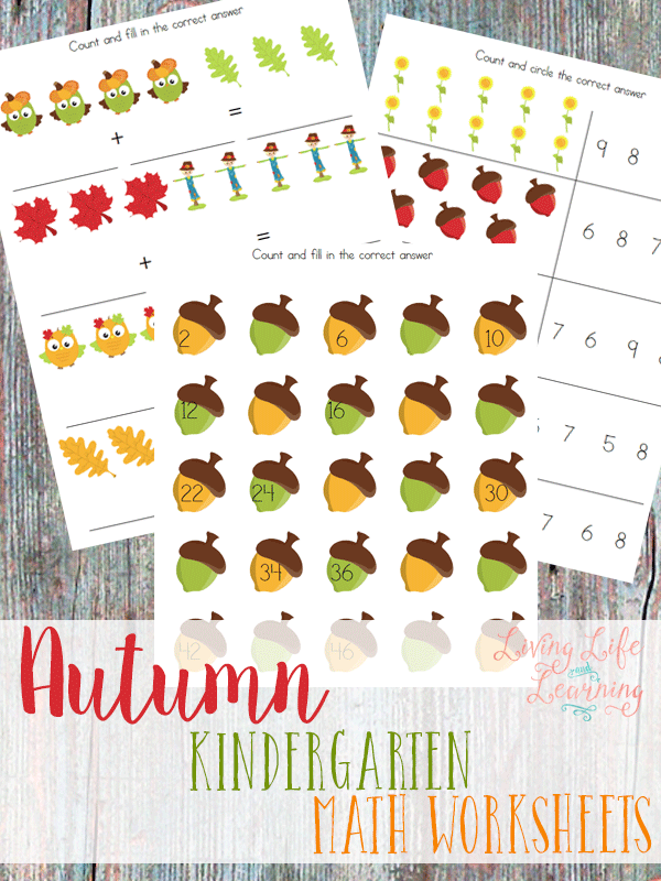 Math Worksheets printable math worksheets kindergarten : Free Printable Autumn Kindergarten Math Worksheets - Money Saving Mom®