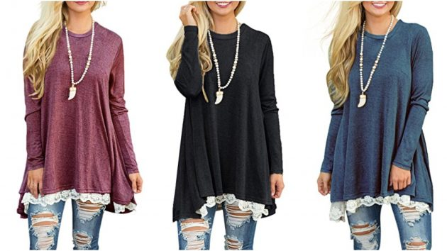 Get a Women's Lace Long Sleeve Tunic Top Blouse as low as $19.99!