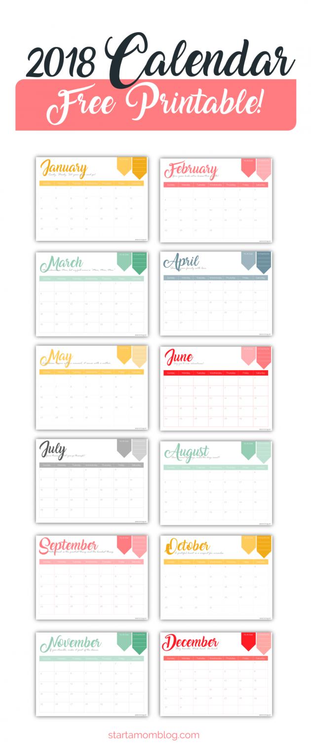 2018 free calendar templates