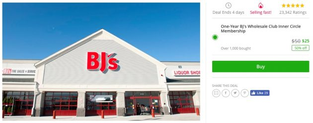 Groupon: Get a BJ's Wholesale Club 1-Year Membership for just $25!