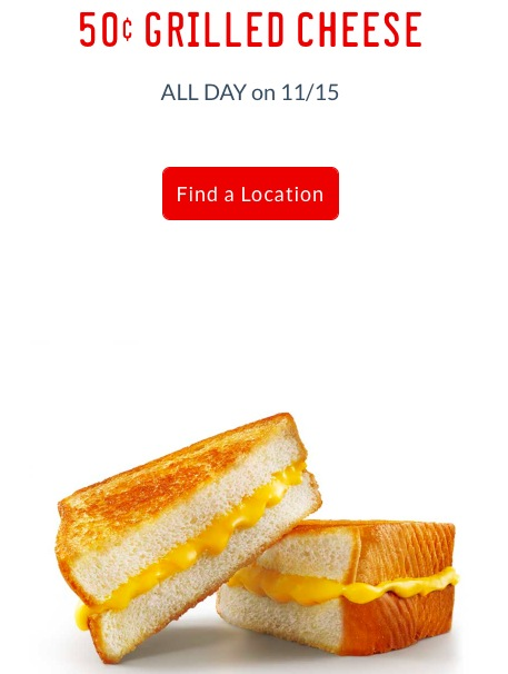Sonic: $0.50 Grilled Cheese on November 15, 2017