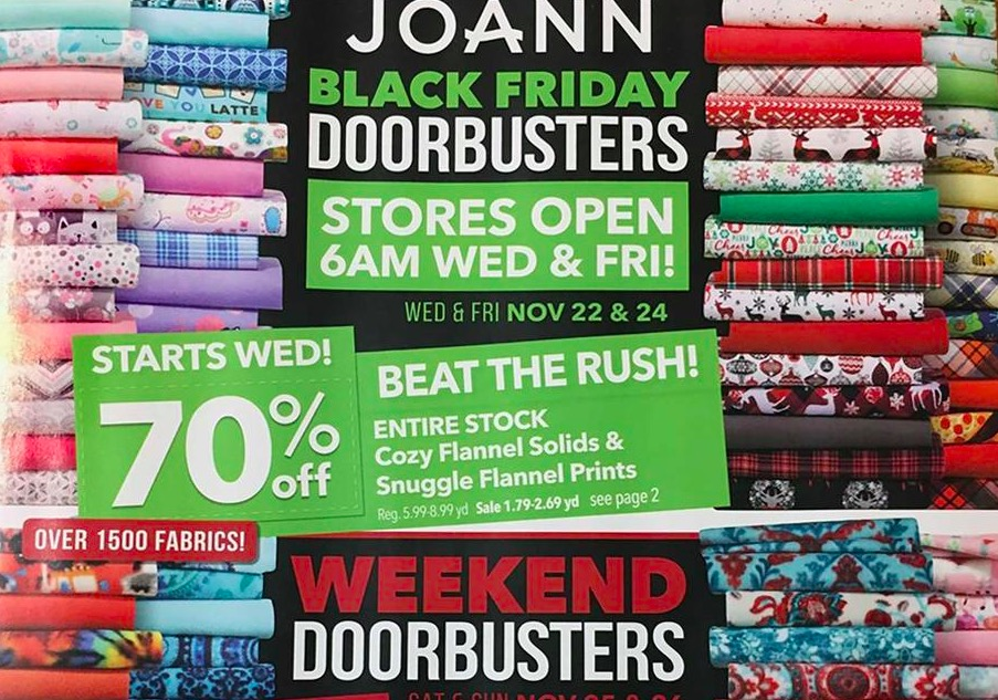 The deal-hunting website fastdownloadecoqy.cf has leaked a copy of the Joann Fabrics Black Friday sale ad. The ad does not appear to be available on the craft and fabric retailer's website, but fastdownloadecoqy.cf has posted a scanned version of the sales circular. According to the leaked version, Joann Fabrics will open its doors at 6 a.m. on Black Friday.