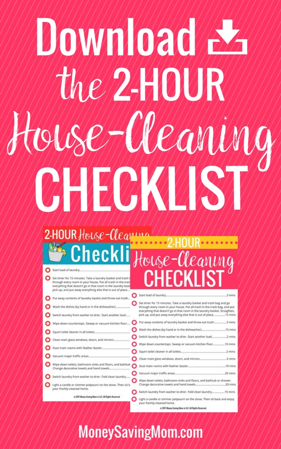 checklist for cleaning houses