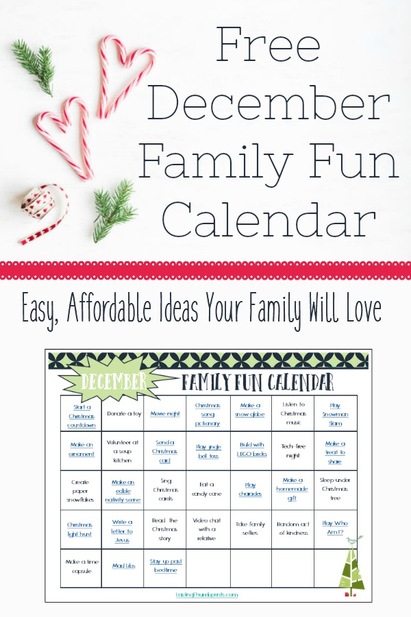 December Kids Calendar : Free printable december family fun calendar money saving