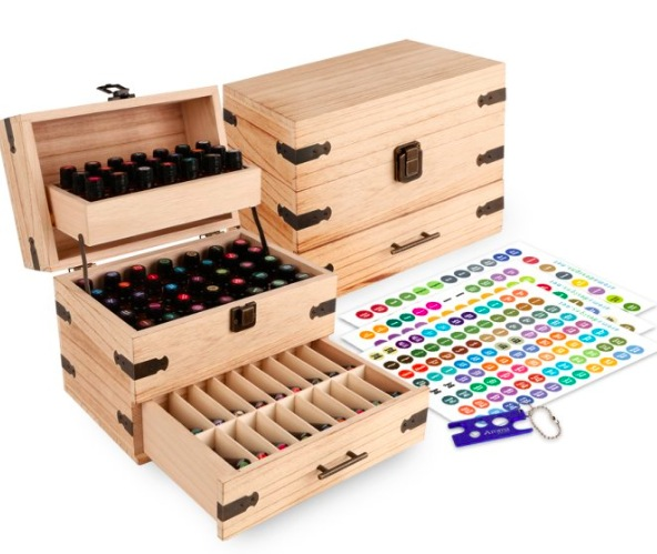 Get a Wood Multi-Tray Essential Oil Organizer for just $39.95!