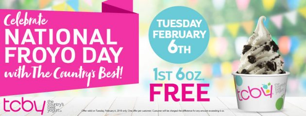 Free Frozen Yogurt on National Frozen Yogurt Day (February 6, 2018)