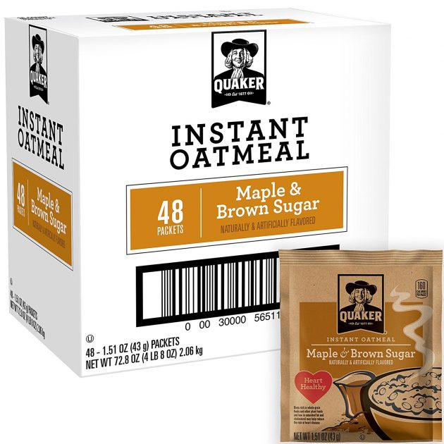 Amazon.com: Quaker Instant Oatmeal Maple Brown Sugar, 48 count only $7.81 shipped!
