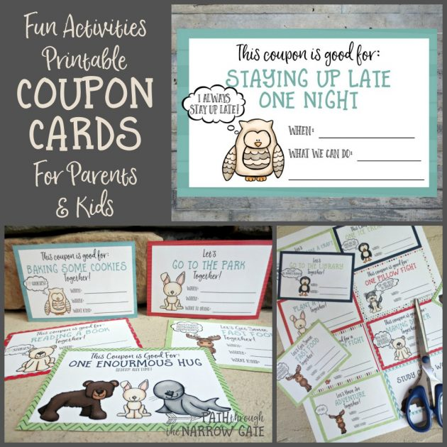 Download A Set Of Free Printable Fun Activities Coupon Cards For Kids