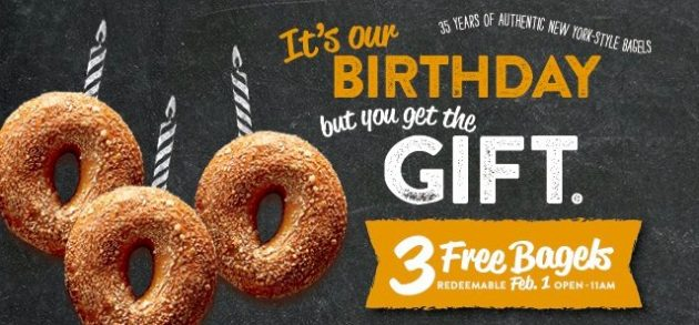 Bruegger's: Free Bagels on February 1, 2018!